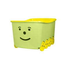 Dėžė žaislams 52L Smiley su dangčiu, su ratukais