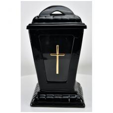 Žvakė kap.(1) Orn/keram.b/į  30cm balt/juod.
